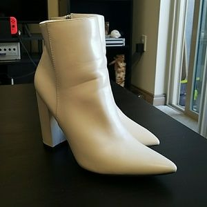 White Mod Ankle Boots